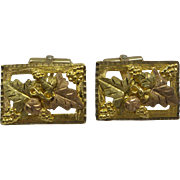 Original Estate Ornate Signed Black Hills Gold 10kt & 12kt Multi Color Gold Large Cufflinks.  Pink Green and Yellow gold.  Very Unique