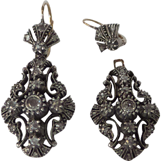 Victorian Original Silver over 18kt  Natural Rose Cut and Old European Cut Diamond 2 Section Earrings...1-1/2 Carats