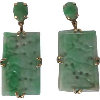 Estate Solid 14kt Natural Carved Jade Jadeite linked Earrings...Beautiful