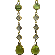Lovely 5 link section Natural Aquamarine and Peridot 14kt Solid gold Earrings