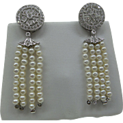 Estate Solid 18kt White Gold Diamond and Cultured Pearl Tassel Earrings.  Wonderful