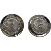Large Heavy 1950's Solid 14kt White Gold and Fine Diamonds Gents Cufflinks...18 grams...Fabulous !