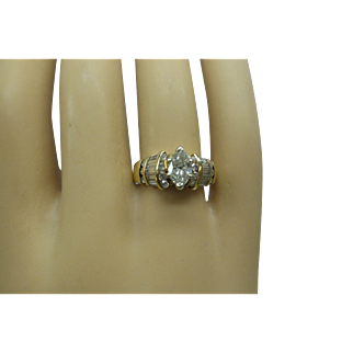 Lovely Estate Solid 14kt Natural Marquis Shape Diamond Engagement Ring With Daimond Baguette Mounting...(.55 Cts. Marquis Center)