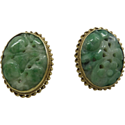 Beautiful 14k Gold 1940's Natural Carved Pierced Jade Earrings