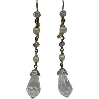 Wonderful Original Edwardian Circa 1910 Platinum and Diamonds with Natural Pearls linked hanging Earrings with Rock Crystal Briolette drops