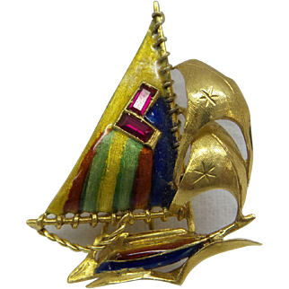 Loveley 1950's Mult-Rainbow Enamel 18kt Dimensional Sail Boat Pin...Finely Hand Made