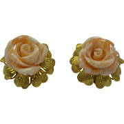 Beautiful Solid 14kt Gold Dimensional Natural Salmon Flower Earrings from Fine Estate 1960s