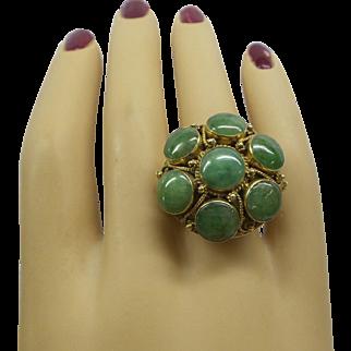 Large Heavy Fantastic Solid 14kt 1950's circular design Natural 9 piece apple color Jade Ring. 12.9 Grams