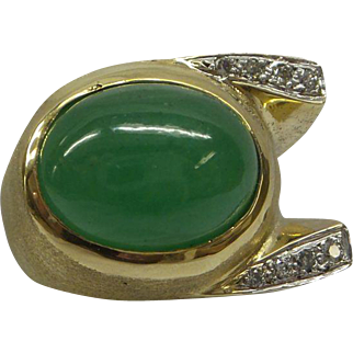 Fine Quality Gents Natural Jadeite Jade (11Carat) 14kt Heavy Mounting (19.3 Grams) Ring with Fine Diamonds..1950s Vintage