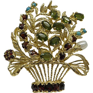 Very Large 1950s Multi Dimensional Solid 14kt Signed Lucien Piccard Vaious Natural Gemstones Flower Basket Pin / Pendand...18.3 Grams