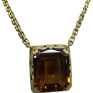 The Real Deal 1920s Art Deco Solid 14kt Very Large Natural 35 carat Madiera Citrine Topaz Necklace with Fabulous Original Chain...31.8 Grams