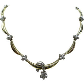 Lovely Estate Solid 14kt Scallop Design Fine Natural Diamond Necklace ...approx.  1 cts.  total