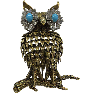 Absolutely Wonderful Large 1950s Solid 14kt Dimensional Turquoise and Diamond Eyes Owl Pin.....18.3 Grams