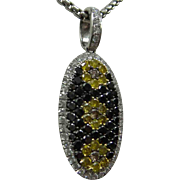Fantastic Pave Set 18kt Solid White Gold Muti-color Genuine,  White, Yellow, Black and Champagne, Diamonds Pendant (1.94 cts total)  with chain..Gorgeous !