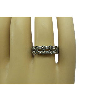 Solid 18kt White Gold Double Row Champagne and White Natural Diamonds Eternity Band