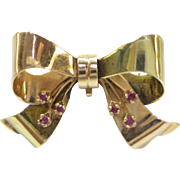 Original 1940s RETRO Solid 14kt. Pink and Green Gold Bow Pin with Natural Rubies....Very Nice