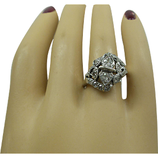 Gorgeous Original Art Deco 1920s Solid Platinum and Fine Diamonds Dinner Ring....Approx. 1 Carat Total