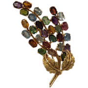 Fabulous 1960's 14k Solid Gold Multi-Color of Genuine Gem stones Bursting Leaf Spray Pin Broach.....9.5 Grams...Beautiful Quality Piece !