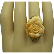 Estate Large Solid 14kt. 1960s Fine Natural Carved Salmon Angel Skin Coral Flower Ring