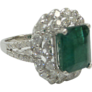 """Gorgeous and Fine Solid 18kt. Natural 1.75 cts. Diamonds and Genuine Large 3 Carat Emerald Ring from Fine Estate  """"Absolutely Stunning """""""