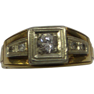 Original 1920s Solid 14kt Gents Fine Diamond Ring