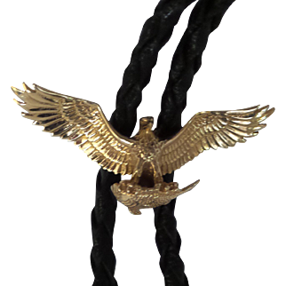 Very Nice Solid 14kt Gold Bolo Tie flying Eagle Slide holding a fish. with natural braided leather and 14kt Solid Gold Tips...35""