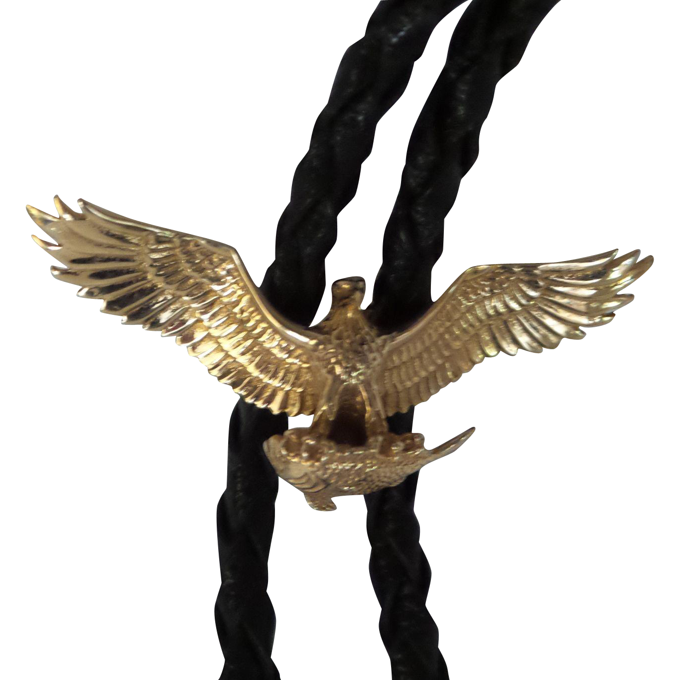 Very Nice Solid 14kt Gold Bolo Tie Flying Eagle Slide