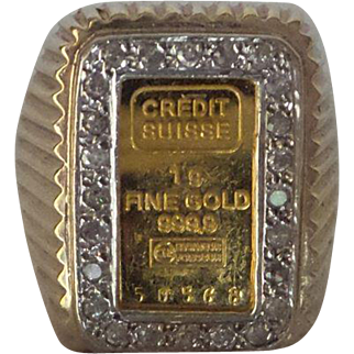 Fine Estate Solid 14kt Gents Ring with Natural Diamonds and 1 Gram Fine Gold 999.9 Credit Swiss Ingot Ring...12  Grams Total