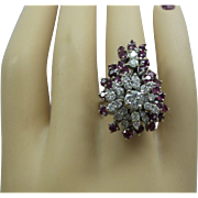 1960s Fabulous Showy Solid 18kt White Gold Fine Natural Ruby and Fine Diamond Waterfall Cocktail Ring