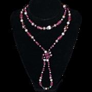 Long Art Glass Pink/ Purple Necklace