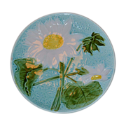 Vintage Majolica Turquoise Sunflower  Plate, SMF Schramberg Germany