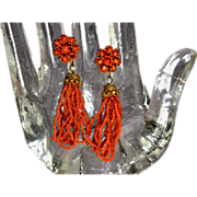 Antique Georgian Natural Coral Pinchbeck Tassel Earrings