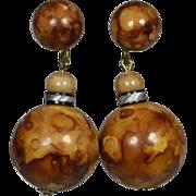 Funky 60's Burl Wood Lucite Earrings
