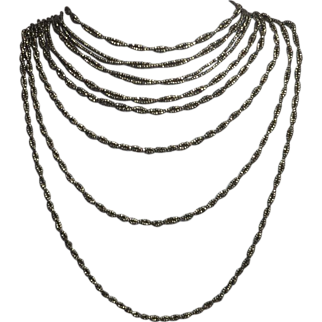 SALE!  Magnificent Victorian Cut Steel Twisted Rope Necklace
