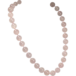 Vintage Rose Quartz Necklace Large Beads Hand Knotted