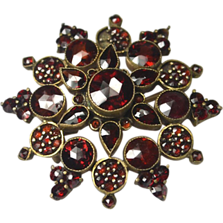 Victorian Bohemian Garnet Pin Brooch