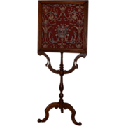 Victorian Fire Screen Carved Walnut, Woven Tapestry