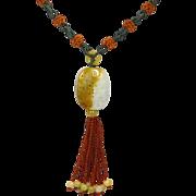 Vintage Carved Bi-Colored Nephrite Jade Pendant Necklace
