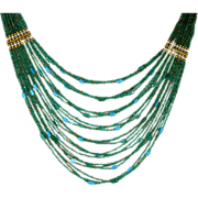 Translucent Venetian Art Glass Seed Bead Necklace Emerald Green