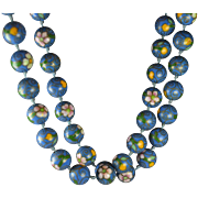 "Vintage Chinese Export Cloisonne Necklace ""Denim"" Blue"