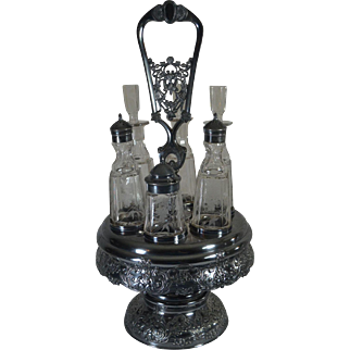 Exceptional 1800's Silver Plated Cruet Set -- 6 Bottles