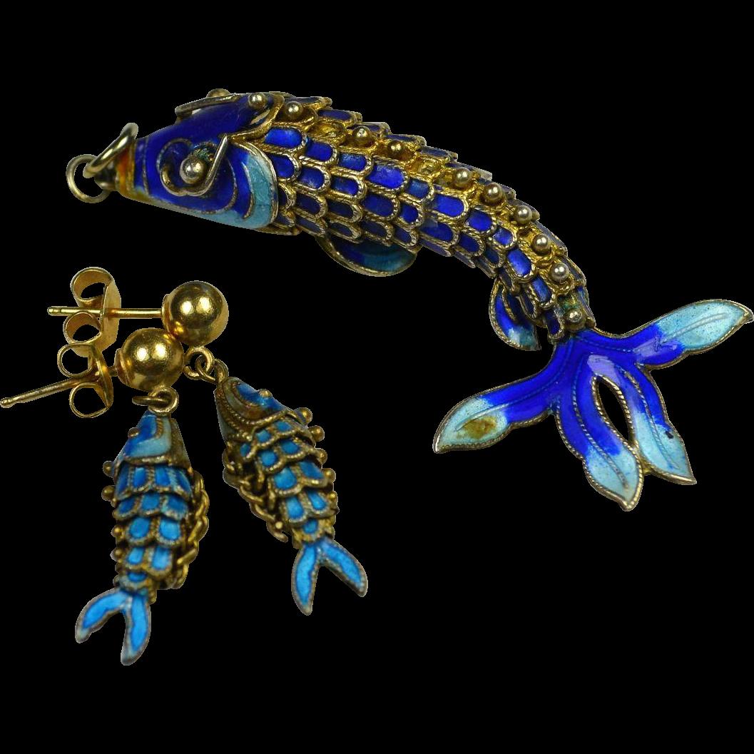 Vintage Articulated Enamel Fish Demi Parure Pendant Necklace Earrings