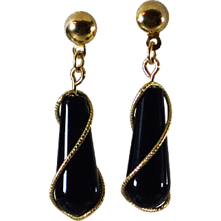 Stunning Black Onyx 14K Gold Drop Earrings