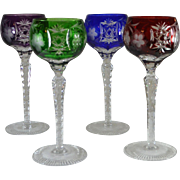 Set of 4 Jewel Colored Crystal Cut-to-Clear Wine Glasses  Ajka Marsala