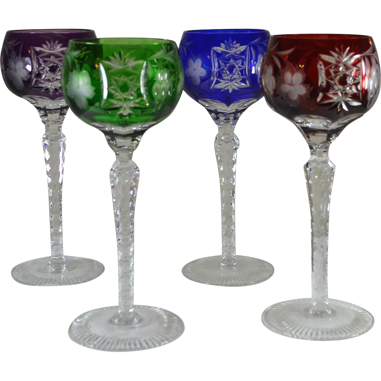 Set of 4 Jewel Colored Crystal Cut-to-Clear Wine Glasses ...