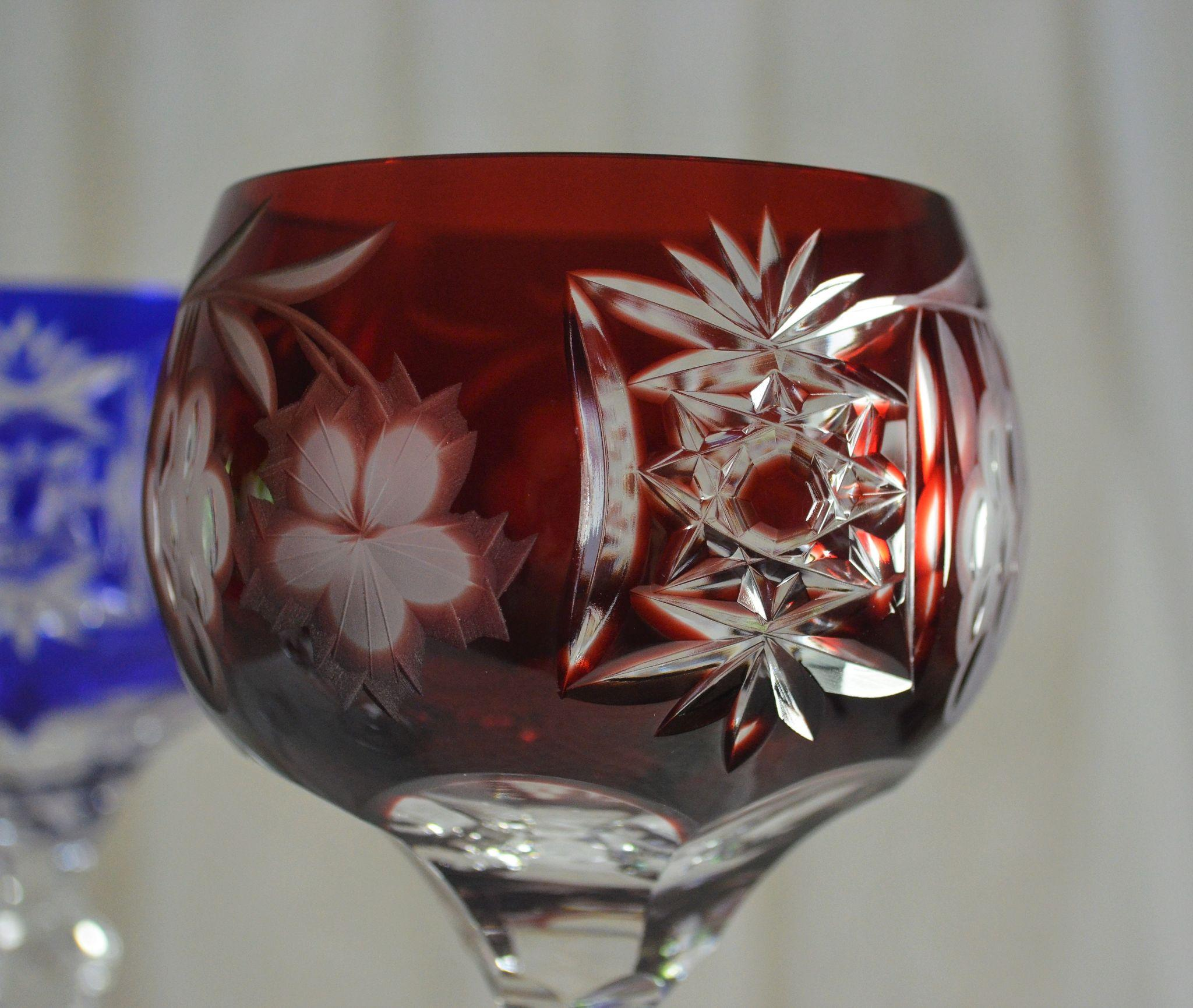 Set Of 4 Jewel Colored Crystal Cut To Clear Wine Glasses