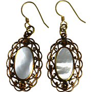 Mother of Pearl MOP Dangle Earrings Copper Filigree