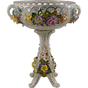 Dresden Porcelain Compote Carl Thieme Applied Flowers