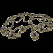 Vintage 800 Silver Plate Belt Lapis Chains Dangles Bohemian