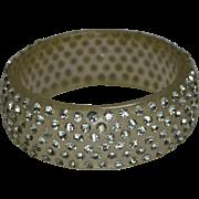 Mid Century Clear Lucite Bangle Bracelet Glitter Rhinestones